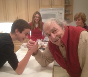 Michael Cohen arm wrestling (and winning) vs. grandson Will at age 83.